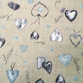 Tovaglia Confezionata Love Heart Grigio/Marrone